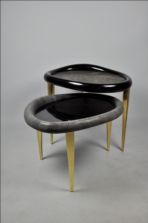Ginger Brown Organic Table Nesting Table Shagreen Table Gold Leaf Shagreen Coffee Table Gold Coffee Table Shagreen Table
