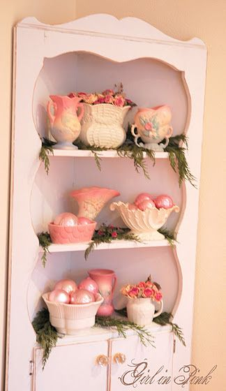 lovely pink holiday vignette