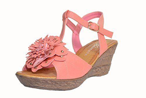 Flower T-Strap Wedge Sandal
