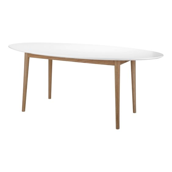 Table de repas ovale blanc et ch ne l180cm bergen tables rectangulaires t - Table de salon ovale ...