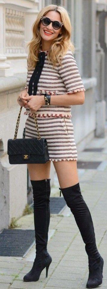 Stripe Summer Set + Black high boots