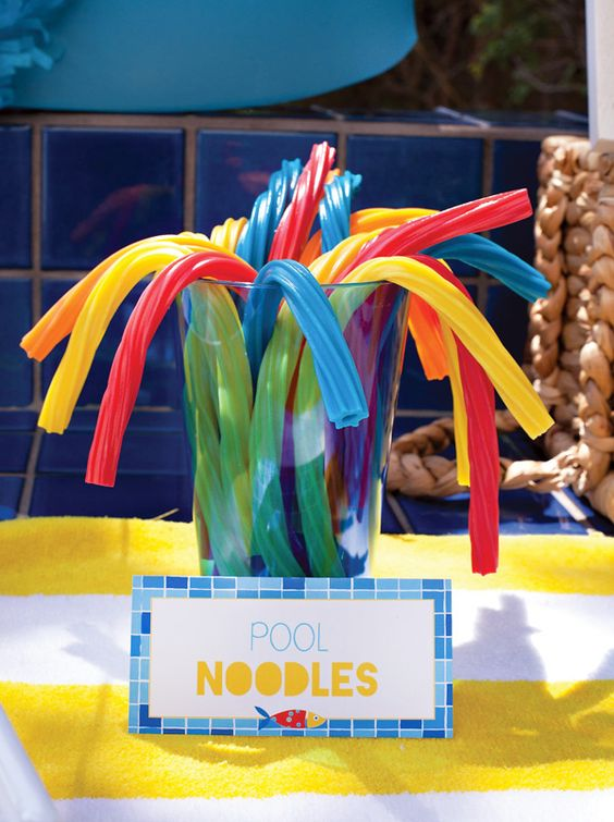 Such clever idea to use licorice as pool noodles! Creative Pool Party {or Playdate} Ideas for Little Swimmers. Party styling, graphic design, photography, & food: Hostess with the Mostess – Coordinating invitations & decor available at Hostess INK (or digitally on HWTM Etsy)