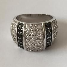 Sterling silver rhodium plated wide ring with pave set white and blac... Lot 150