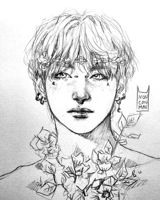 Pin By Kyleigh Rixie On Bts Sketch Bts Drawings Kpop Drawings Bts Fanart