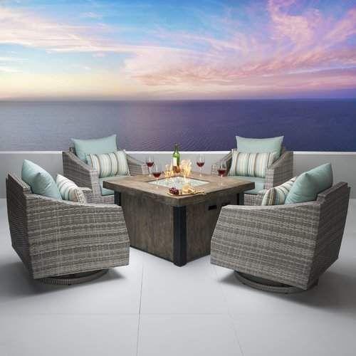 Castelli 5 Piece Conversation Set With Cushions Conversation Set Patio Comfortable Outdoor Chairs Rattan Furniture Set