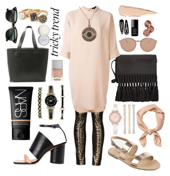 """""""Dress & Pants - 2 ways"""" by lovefromcyprus on Polyvore featuring Valentino, Alexander Wang, Hourglass Cosmetics, Maison Margiela, Anne Klein, NARS Cosmetics, Linda Farrow Luxe, Nails Inc., Clips and Ileana Makri"""