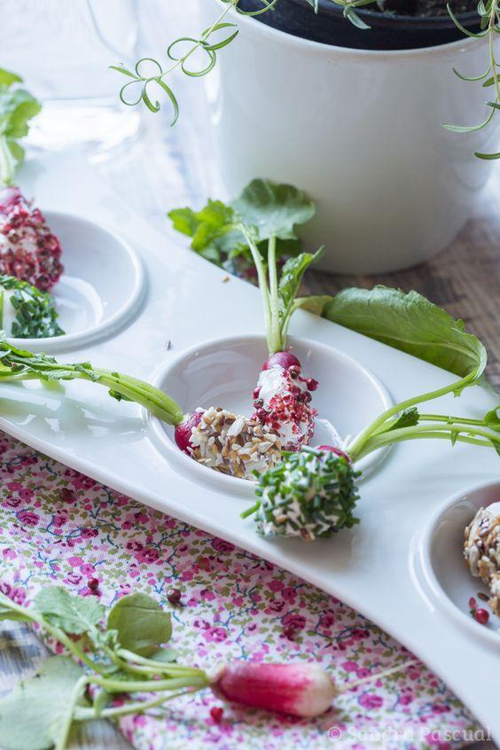 Une recette facile et rapide pour l'apéritif: des radis roses recouverts de fromage frais et aromatisés aux herbes et épices.