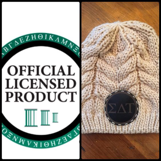 Officially licensed sorority beanie.