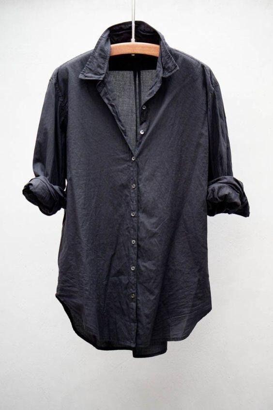 Versatile. Fashionable. Mess-proof. | Everlane Black Cotton Shirt.