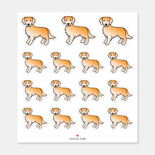 Golden Yellow Golden Retriever Cartoon Dogs Sticker Zazzle Com