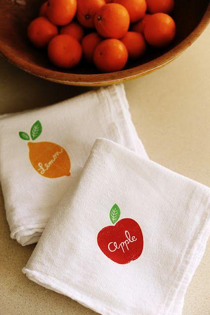 DIY fruity dish towels