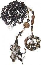 hacer la paz, 159cm Realizado con perlas de río negras, bronce, nácar, cuentas bronce de África, bronce y turquesa. Largo: 1 metro 59 cm. Es muy largo para que lo puedas usar en varias vueltas o atado.