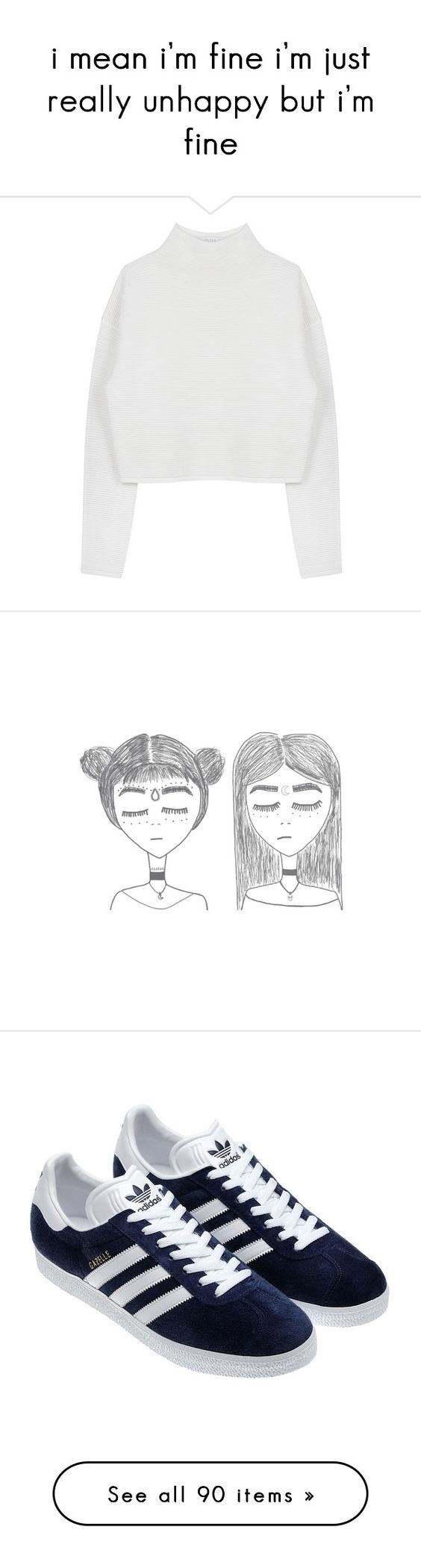 """""""i mean i'm fine i'm just really unhappy but i'm fine"""" by alienbabs ❤ liked on Polyvore featuring tops, sweaters, white top, dion lee, fillers, drawings, sketches, doodles, + drawings and scribble"""