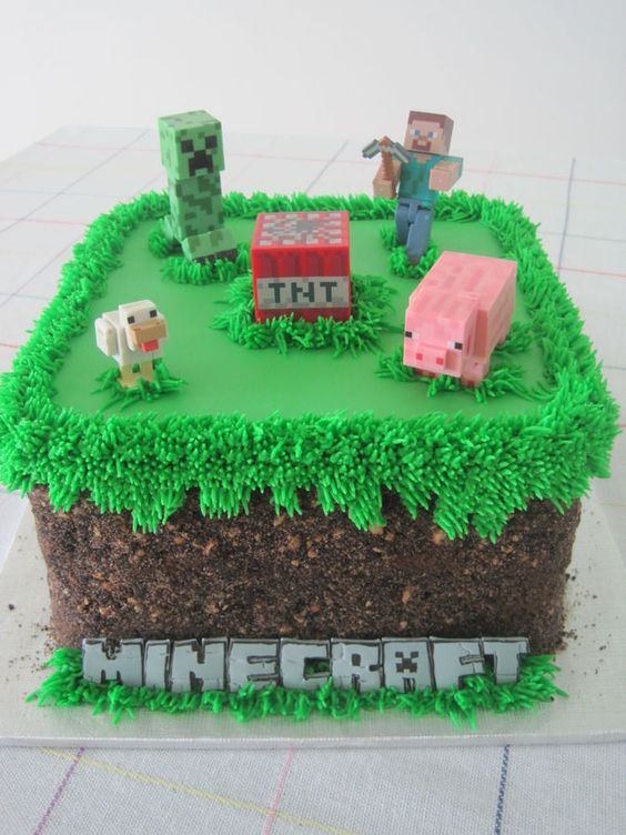 Minecraft grass block birthday cake - Oreo and Teddy Graham crumbs: