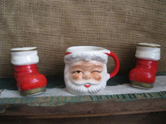 Antique - Ceramic Santa Mug and Boots - Sweet Holiday Decor. $8.00, via Etsy.