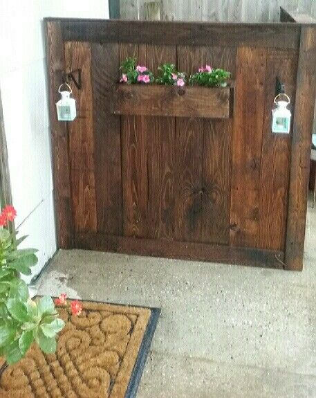 From pallets to great cover up for the air conditioner unit! Bf made it all himself! Love Pinterest ideas!