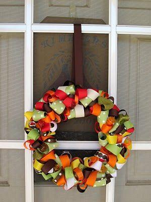 cute ribbon wreath for fall