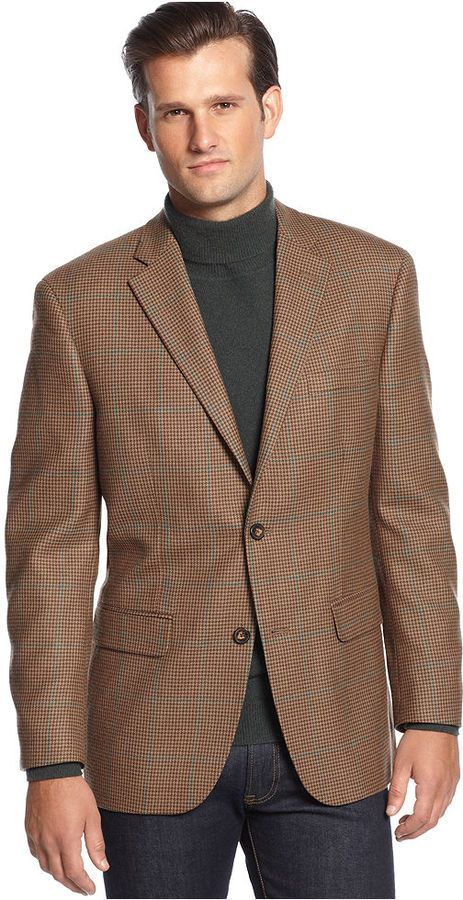 Jacket Brown Houndstooth Windowpane Sportcoat | Shops, Brown and ...