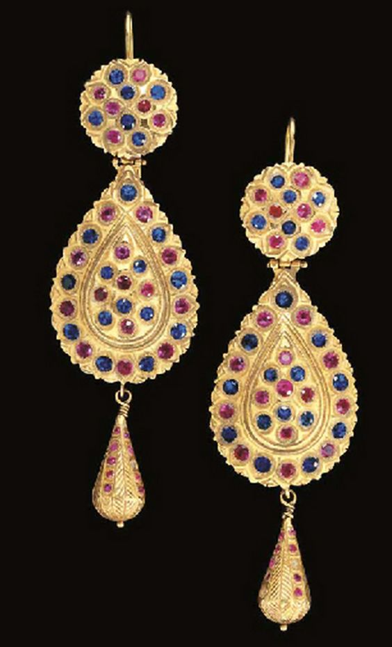 Morocco | Pair of gold earrings inset with red and blue gemstones | 19th century, Fez | 21'600£ @ sold (Apr '07):