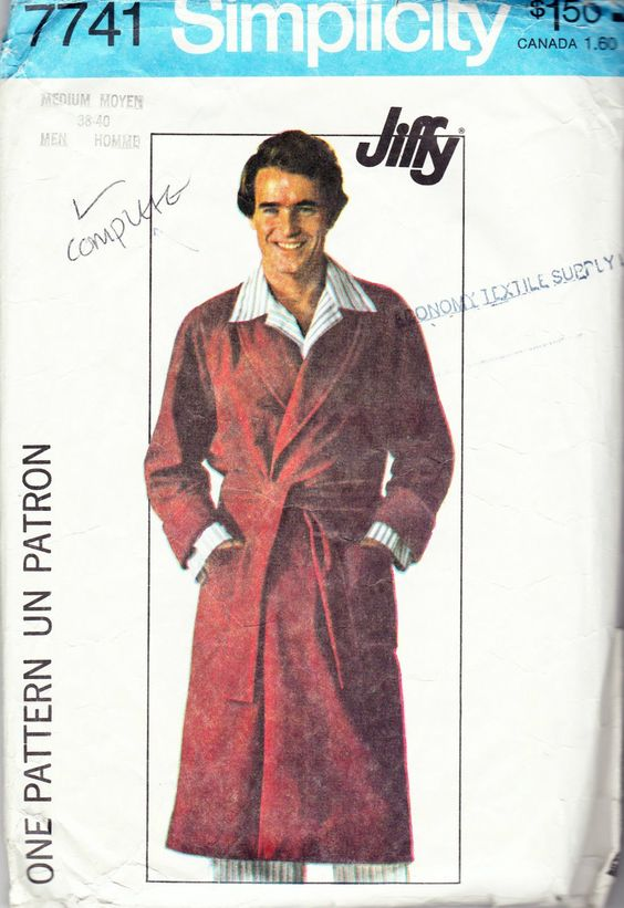 """VINTAGE 1976 SIMPLICITY SEWING PATTERN 7741 MENS' JIFFY DRESSING GOWN CHST38-40"""" 