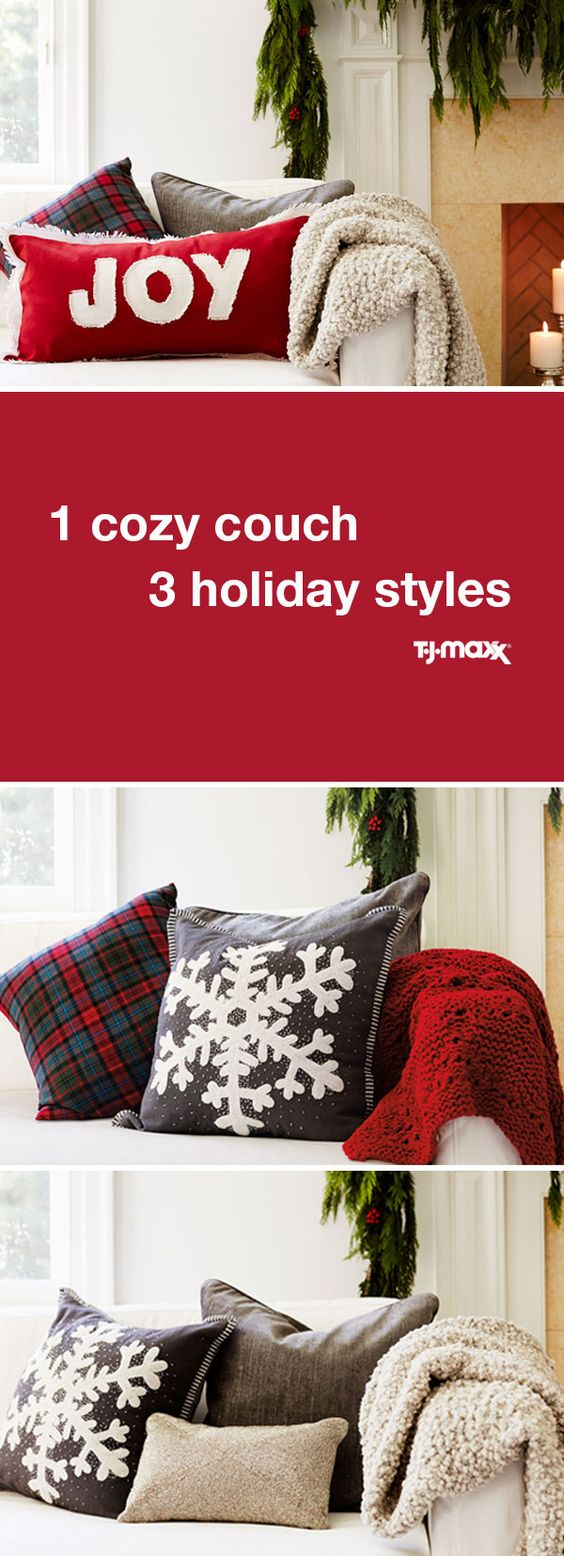 The easiest way to get your home decorated for the holidays? Festive pillows and a cozy throw.