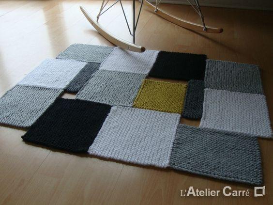 tapis-carre-tricot-couleur-amovible-jaune