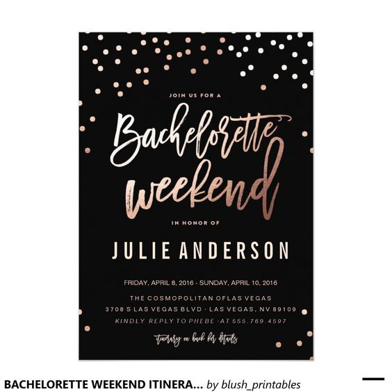 BACHELORETTE WEEKEND ITINERARY // BLACK 5x7 invitations. Artwork designed by Blush Paper Co ...