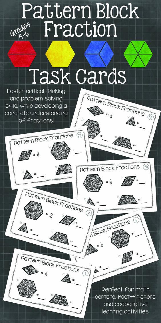 Pattern Block Fraction Task Cards Math Centers Teaching