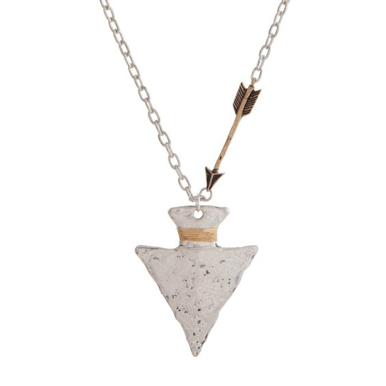 {Burnished Silver Tone Tribal Inspired Necklace}