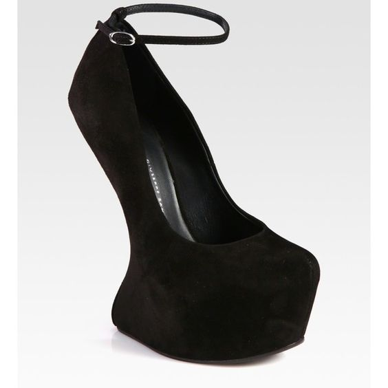 Giuseppe Zanotti black Suede Curved-Wedge Platform Pumps ($310