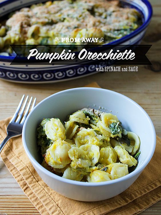 Pumpkin Orecchiette with Spinach and Sage
