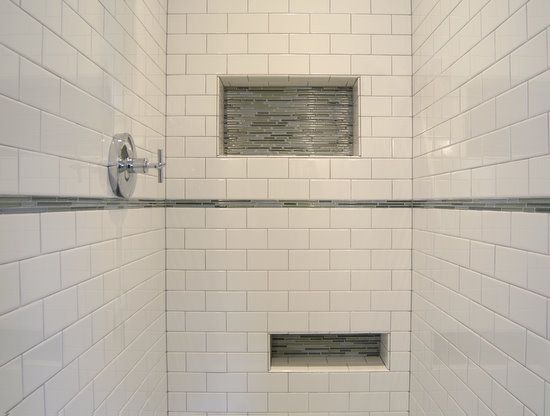 Subway Tile Shower With Accent Strip And Soap Niche | In The Hizzouse    Bathroom | Pinterest | Subway Tile Showers, Tile Showers And Subway Tiles