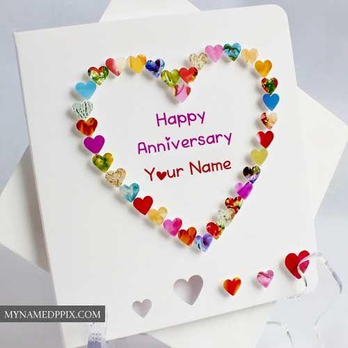 Name Write Beautiful Heart Design Anniversary Card Create With