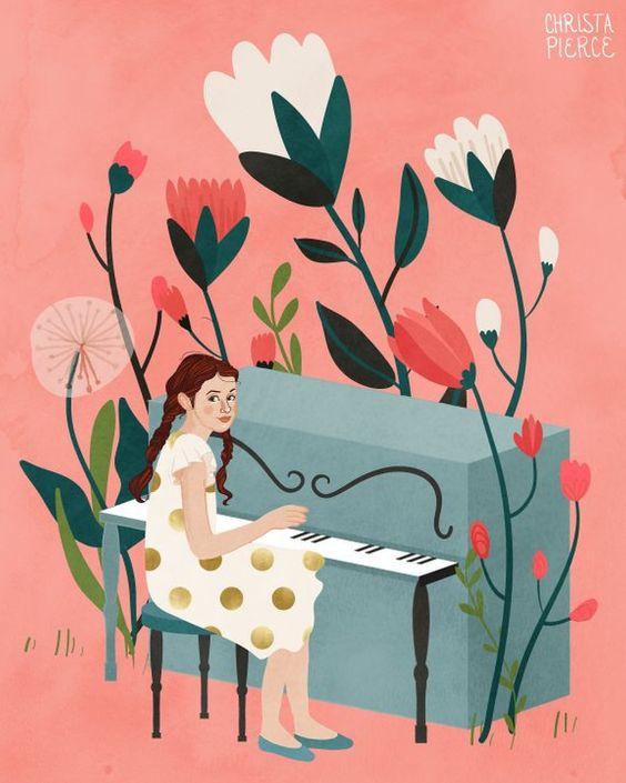 Magic Piano - Vertical print, pink, girl, music, flowers, art, print, illustration, gift