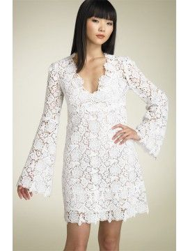 Short Lace Wedding Dress. Would be cute with cowboy boots.