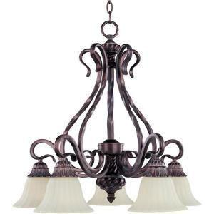 5-Light Chandelier with Soft Vanilla Glass - Greek Bronze-HD-MA43080247 at The Home Depot