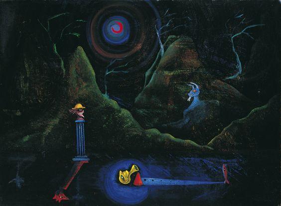 Joan Ponç i Bonet. Nocturno, c. 1950. Óleo sobre lienzo, 60 x 81 cm. Colección Carmen Thyssen-Bornemisza