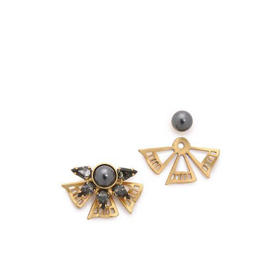 Elizabeth Cole Sanibel Imitation Pearl Earrings ($89) ❤ liked on Polyvore featuring jewelry, earrings, navy blue, 24k earrings, navy blue earrings, elizabeth cole, imitation pearl earrings and fake pearl earrings