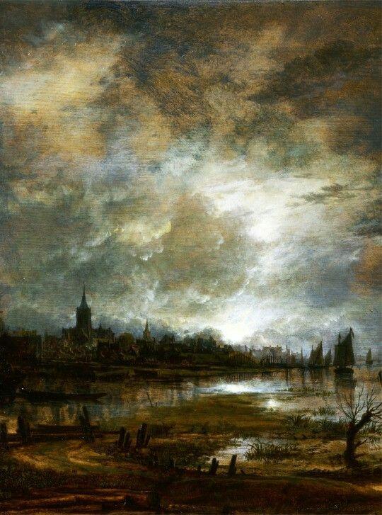 Aert van der Neer- A River near a Town, by Moonlight