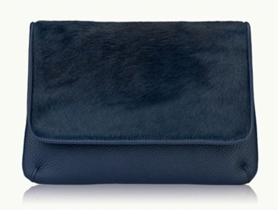 Navy haircalf clutch