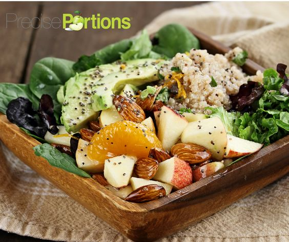 Super yummy Summer salad  ⛱☀️😎 by Precise Portions. This cool recipe is perfect to refresh you in hot days and add flavors vitamins and antioxidants to keep you healthy  YOU WILL NEED:  ➡️ 1 cup of spinach  ➡️ 1 cup of mixed lettuce  ➡️ ½ apple chopped  ➡️ 10 almonds  ➡️ ½ piece of tangerine  ➡️ 2 tablespoons of cooked quinoa  ➡️ Avocado slices  ➡️ 1 teaspoon of olive oil  ➡️ Salt and pepper