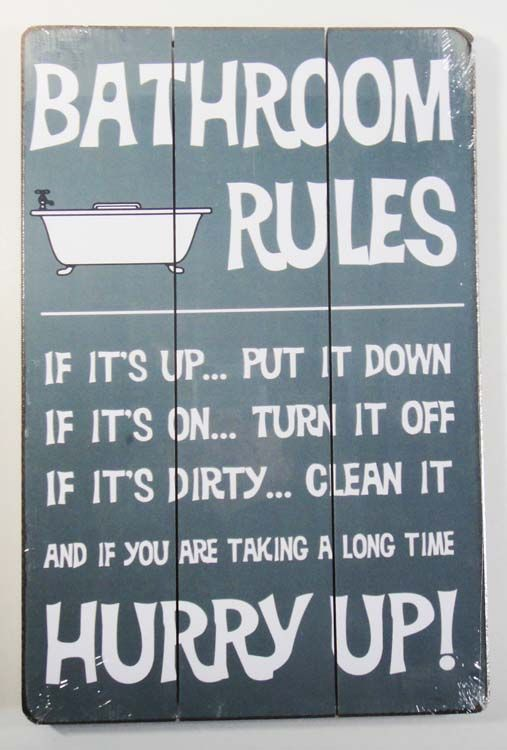 Wooden Wall Art ›› Wooden Wall Art Bathroom Rules Sign