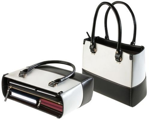 Black and White Leather Handbag from MJC
