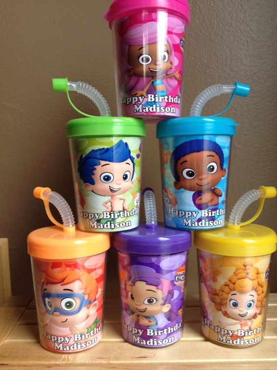 Bubble guppies personalized birthday party favor cups set of 6 for 16 avery 39 s 3rd bday - Bubble guppies party favors ideas ...