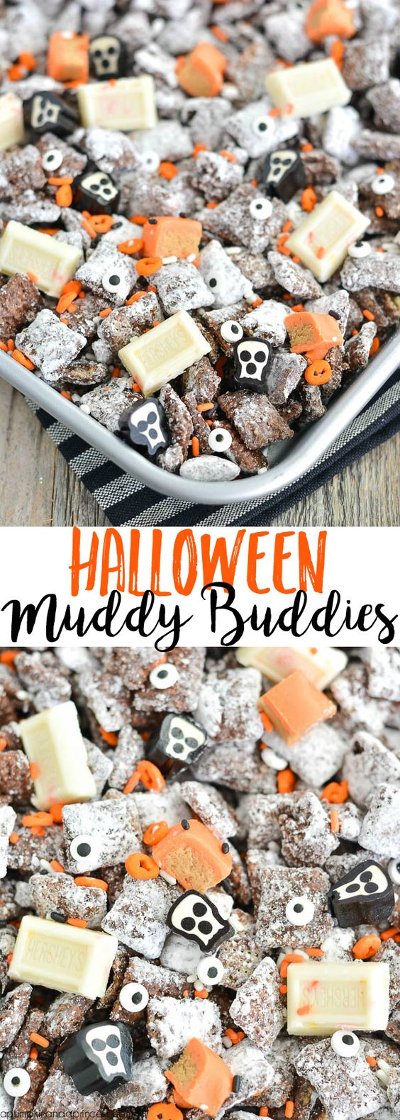HALLOWEEN MUDDY BUDDIES – looking for an easy Halloween treat? This muddy buddies recipe is great for a Halloween party or spooky movie night!