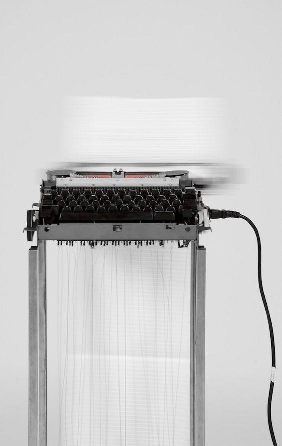 On Journalism #2 Typewriter by Julian Koschwitz in thisispaper.com: Installation Tells, Typewriter Installation, Art Installations, Installation Art, Art Arte, Cos Art