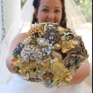 Fall broach bouquet made from family donations