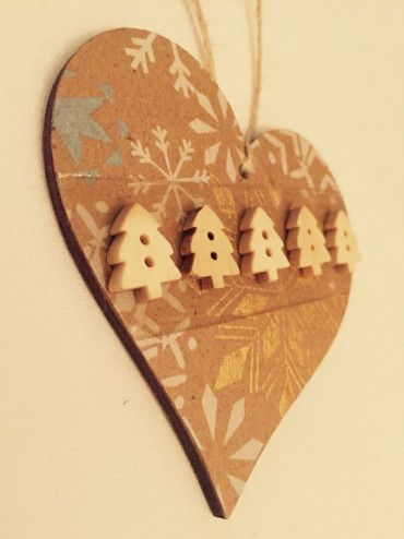 Cute Vintage Print Christmas Tree Decoration with Snowflake Stamp by:-TheAliceGarden