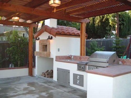 Spanish Tile Outdoor Kitchen W Open Fire Oven Doing It