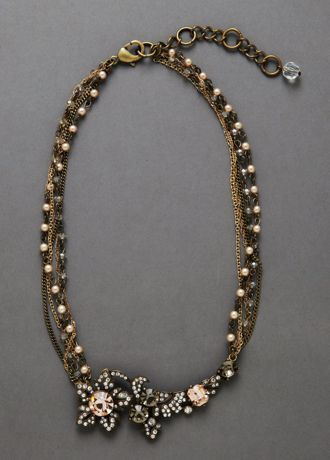 Truly Zac Posen floral pearl and crystal necklace.  This unique topaz and crystal floral necklace with antique brass setting is a true statement piece.  Available in Bronze.  Imported.